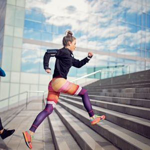 Runner women are sprinting in a competition