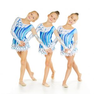 Group of little dancers isolated on white
