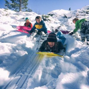 Children sledding on a cold winter day